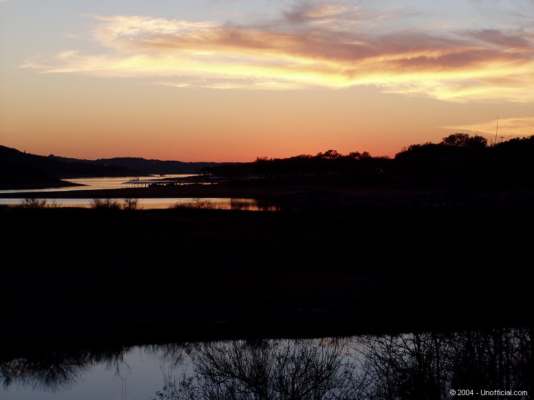 Sunset at Cypress Creek Park on Lake Travis in northwest Travis County, Texas