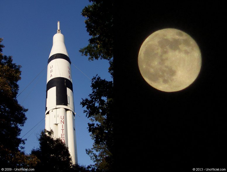 Saturn I Rocket at the U.S. Space and Rocket Center, Huntsville, Alabama and 2013 Super Moon